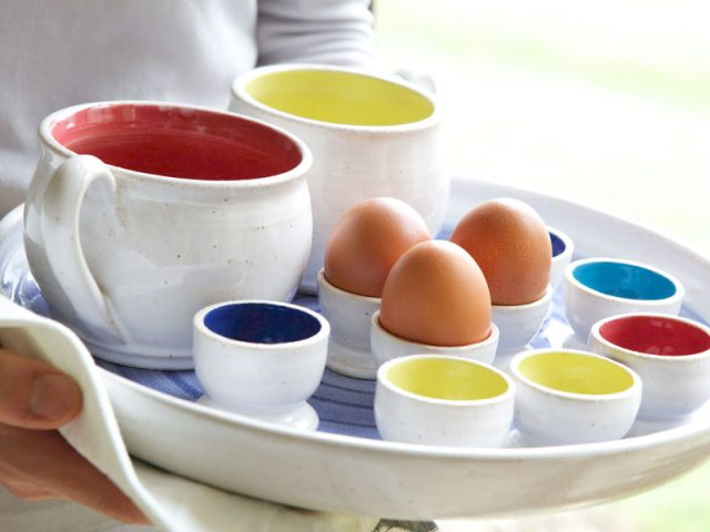 eggcups on tray